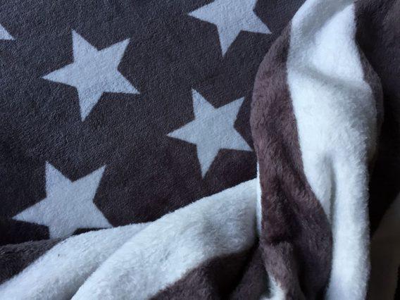 0,5m Doubleface Wellnessfleece Sterne Streifen grau Blockstreifen