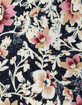 0,5m Viskose Jersey Blüten Blumen navy beige rosa
