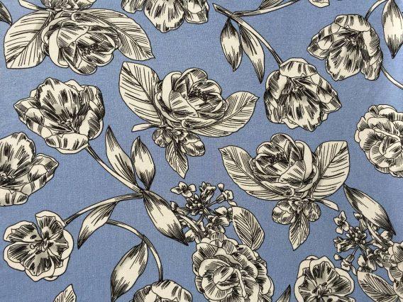 0,5m Viskose Jersey große Blüten Blumen jeansblau grau weiß schwarz