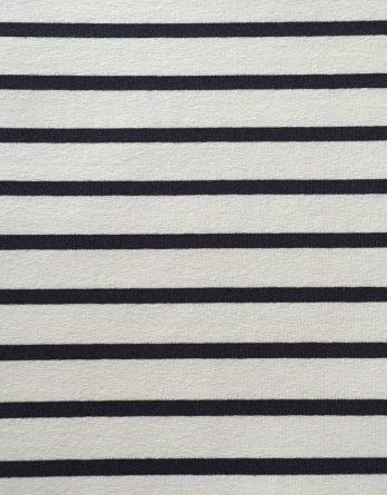 0,5m Blockstreifen Jersey – 1,6cm Streifen in weiß – mit navy / dunkelblau gestreift – maritim – toll für Damen und Kinder