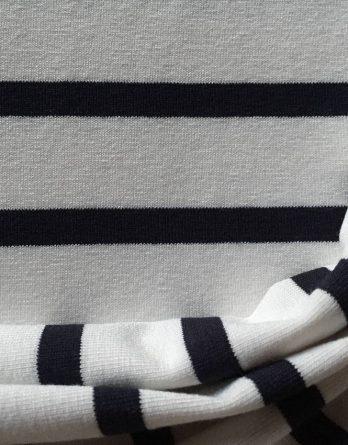 0,5m Blockstreifen Jersey – 2cm Streifen in weiß –  mit navy / dunkelblau gestreift – maritim – toll für Damen und Kinder