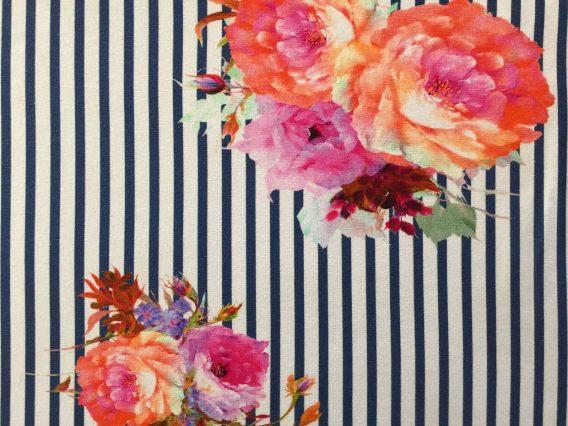 P Jersey Stoff mit Blumen in rosa pink mint und orange auf dunkelblauen Streifen Ökotex 2a 568x426 - 0,5m Jersey große Blumen Blüten Streifen dunkelblau orange pink rosa Ökotex