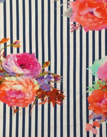 P Jersey Stoff mit Blumen in rosa pink mint und orange auf dunkelblauen Streifen Ökotex 3 348x445 - 0,5m Jersey große Blumen Blüten Streifen dunkelblau orange pink rosa Ökotex