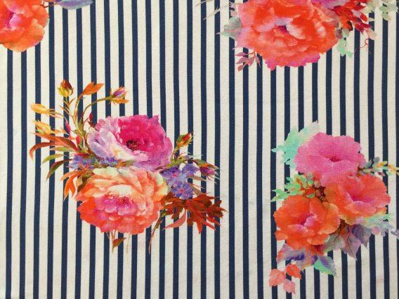 P Jersey Stoff mit Blumen in rosa pink mint und orange auf dunkelblauen Streifen Ökotex 3 568x426 - 0,5m Jersey große Blumen Blüten Streifen dunkelblau orange pink rosa Ökotex