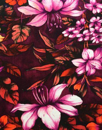 0,5m Jersey große Blüten Blumen Blätter orange rot lila flieder Ökotex