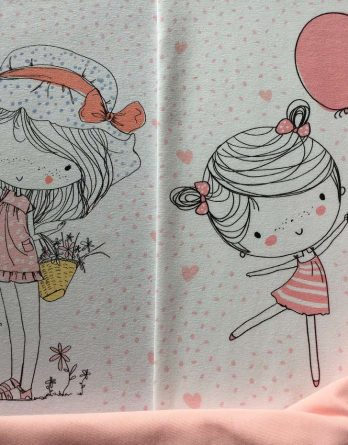 IMG 9284 IMG 9281 Panel Jersey nice rosa SP 1 348x445 - 1m Bio Jersey Panel Stoffpaket: Frühlingsmädchen Mädchen Blumen Luftballons Punkte Herzen nice rosa GOTS Ökotex