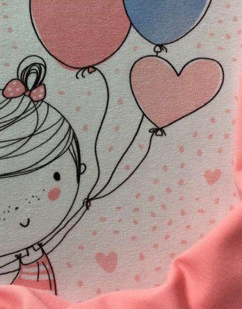 1m Bio Jersey Panel Stoffpaket: Frühlingsmädchen Mädchen Blumen Luftballons Punkte Herzen rosenblüte GOTS Ökotex