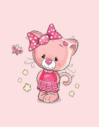 1 Sommersweat / French Terry Panel (40x50cm) Katze Kätzchen auf rosa Kleid Masche Schmetterling Sterne Einzelmotiv Ökotex