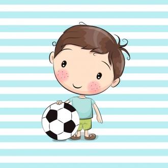 1 Sommersweat / French Terry Panel (40x50cm) – Bub Junge mit Fußball auf türkis weiß gestreifen Hintergrund – Einzelmotiv Ökotex