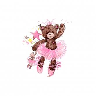 CAFiIpxF12nKQY83SIcq - 1 Sommersweat / French Terry Panel (39x54cm) - Ballerina Bär Bärchen auf creme / beige mit Teddybär - Sterne Herzen - pink rosa gelb grün - Einzelmotiv - Ökotex