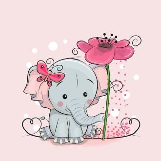 YoXd06NWMrLOp0OdONbC - 1 Sommersweat / French Terry Panel (40x50cm) Elefant auf rosa Schmetterlinge Blumen Herzen Einzelmotiv Ökotex