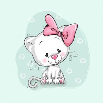 a0RsK1JMMkOCWQmBjgtt - 1 Sommersweat / French Terry Panel (39x56cm) Katze Kätzchen mit Masche auf mint Herzen Kringel rosa pink Einzelmotiv Ökotex