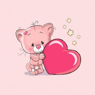 c7GISHYpEepTouYEvDnt - 1 Sommersweat / French Terry Panel (40x50cm) Katze Kätzchen auf rosa großes Herz Sterne rot gelb Einzelmotiv Ökotex