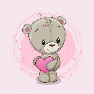 1 Sommersweat / French Terry Panel (40x50cm) Bär Bärchen auf rosa kleines Herz Kreis Punkte Einzelmotiv Ökotex