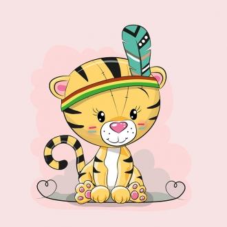 iXATmDpAKXbGfjZ0hQgO - 1 Sommersweat / French Terry Panel (39x53cm) Tiger Katze auf rosa Indianer Herzen Einzelmotiv Ökotex