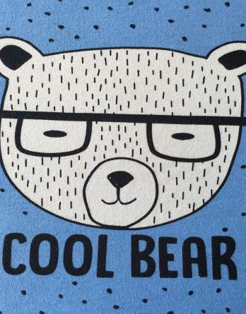 """k IMG 2983 348x445 - Bio Jersey Panel """"Cool Bear"""" 52x50cm Bär Brille Punkte blau Jungen Einzelmotiv"""