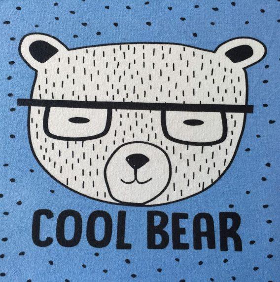 """Bio Jersey Panel """"Cool Bear"""" 52x50cm Bär Brille Punkte blau Jungen Einzelmotiv"""