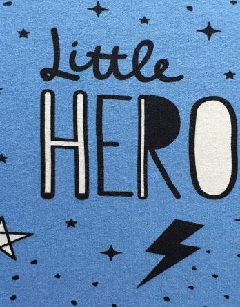 """Bio Jersey Panel """"Little Hero"""" 52x50cm Sterne Pfeile Punkte Bär blau Jungen Einzelmotiv"""