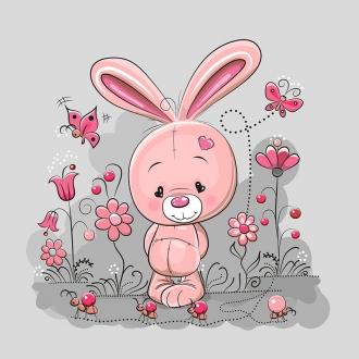lEIJDdihGz0RiBXfAXSw - 1 Sommersweat / French Terry Panel (40x50cm) Hase Häschen auf hellgrau Blumen Schmetterling Ameisen Herz pink rosa rot Einzelmotiv Ökotex