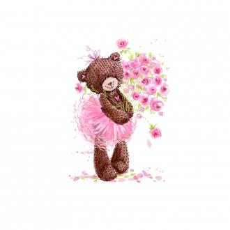 1 Sommersweat / French Terry Panel (39x56cm) - Ballerina Bär Bärchen auf creme / beige mit Blumenstrauß - pink lila - Einzelmotiv - Ökotex