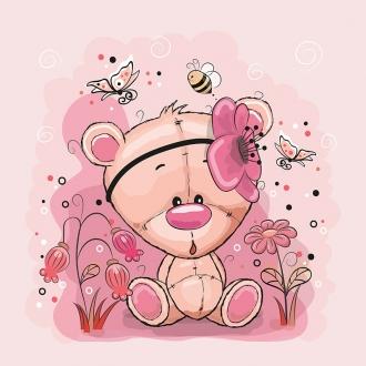 1 Sommersweat / French Terry Panel (40x50cm) Bär Bärchen auf rosa Blumen Schmetterlinge Biene Einzelmotiv Ökotex