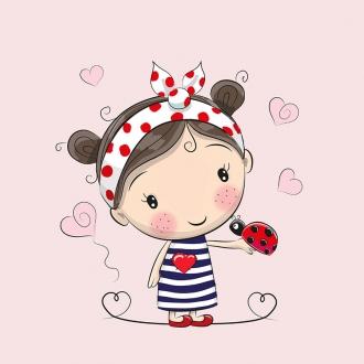 tQAM0uDZIZa8lRc7LgNA - 1 Sommersweat / French Terry Panel (40x50cm) Mädchen auf rosa Haarband Marienkäfer Herzen Einzelmotiv Ökotex