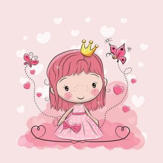 tcIJvvv7eZlxSXByGRBN - 1 Sommersweat / French Terry Panel (40x50cm) - Prinzessin Mädchen auf rosa - Schmetterlinge Herzen Krone - pink gelb - Einzelmotiv Digital Ökotex