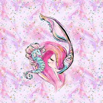 1 Sommersweat / French Terry Panel (39x52cm) Nixe Mermaid Mädchen und Seepferdchen pink rosa grün gold türkis Einzelmotiv Ökotex