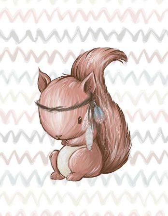 5uMN2wAhGUFGSbRWYJLy 348x445 - 1 Sommersweat / French Terry Panel Waldfreunde - medium / 40x50cm - Eichhörnchen als Indianer - beige rosa blau brau - Einzelmotiv Ökotex
