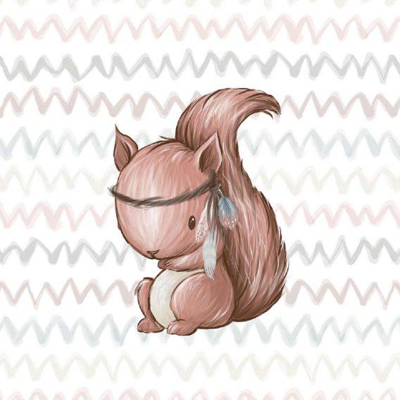 1 Sommersweat / French Terry Panel Waldfreunde – medium / 40x50cm – Eichhörnchen als Indianer – beige rosa blau brau – Einzelmotiv Ökotex