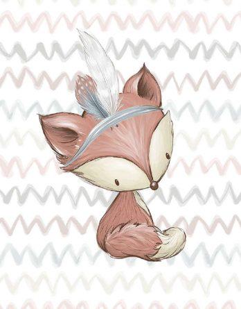 CNxQm9167sdEe3gYv5Cu 348x445 - 1 Sommersweat / French Terry Panel Waldfreunde - medium / 40x50cm - Eichhörnchen als Indianer - beige rosa blau brau - Einzelmotiv Ökotex