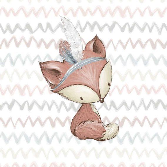 1 Sommersweat / French Terry Panel – medium / 40x50cm – Waldfreunde – Fuchs mit Indianerfeder – beige rosa blau brau – Einzelmotiv – Ökotex