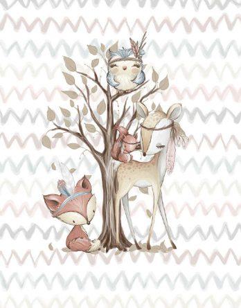 GdRi3hqOBeZEihHxKhM3 348x445 - 1 Sommersweat / French Terry Panel (small, 32x40cm) Waldfreunde - Fuchs Rehe Eule Eichhörnchen - beige rosa blau braun - Einzelmotiv Ökotex