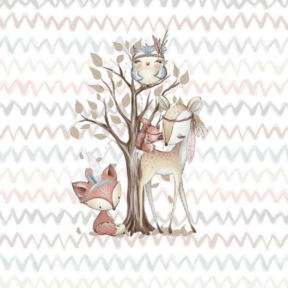 1 Sommersweat / French Terry Panel Waldfreunde – medium / 40x50cm – Fuchs Rehe Eule Eichhörnchen – beige rosa blau braun – Einzelmotiv Ökotex