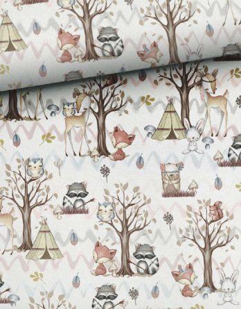 qmTeIIyJCMjocZCsu8T4 348x445 - 1 Sommersweat / French Terry Panel (small, 32x40cm) Waldfreunde - Fuchs Rehe Eule Eichhörnchen - beige rosa blau braun - Einzelmotiv Ökotex