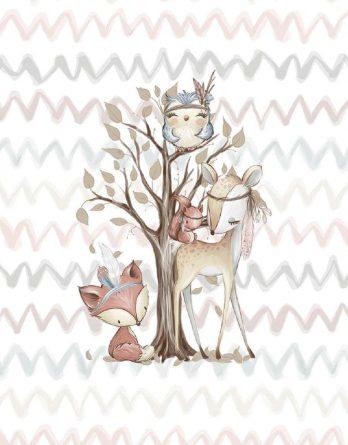 xak9iksuPpRDOzI5pGi5 348x445 - 1 Sommersweat / French Terry Panel Waldfreunde - medium / 40x50cm - Eichhörnchen als Indianer - beige rosa blau brau - Einzelmotiv Ökotex