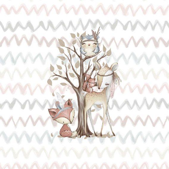 1 Sommersweat / French Terry Panel (small, 32x40cm) Waldfreunde – Fuchs Rehe Eule Eichhörnchen – beige rosa blau braun – Einzelmotiv Ökotex
