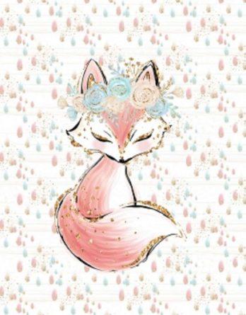 1 Sommersweat / French Terry - Boho Panel - 40x50cm - süßes Fuchs Mädchen mit Blumenkranz auf Regentropfen - beige gold rosa mint türkis - Einzelmotiv Digital Ökotex