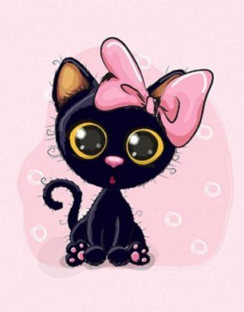 1 Sommersweat / French Terry Panel (40x50cm) - schwarze Katze / Kätzchen auf rosa - mit großer Masche und süßen Kringel - rosa pink - Einzelmotiv Digital Ökotex