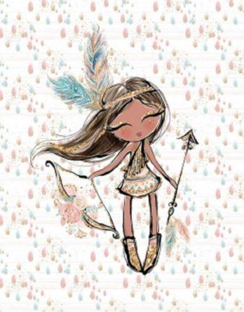 1 Sommersweat / French Terry - Boho Panel - 40x50cm - süßes Indianer Mädchen mit Pfeil und Bogen sowie Blumen und Federn auf Regentropfen - beige gold rosa mint türkis - Einzelmotiv Digital Ökotex