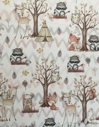 Versand Ende Mai 19: 0,5m Sommersweat French Terry - Kombistoff Panel Waldfreunde - Rehe Waschbären Füchse Hasen Eichhörnchen - 165cm breit - beige braun rosa weiß - Ökotex