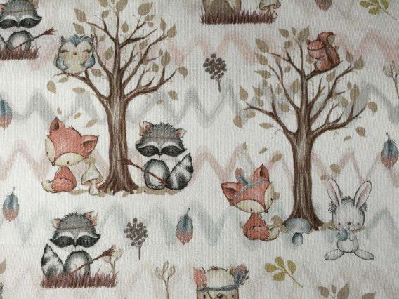 0,5m French Terry Kombistoff mit süße Tiere, wie Rehe, Waschbären, Füchse, Hasen, Eichhörnchen – Waldfreunde Serie – ca. 165cm breit – beige braun rosa weiß – Ökotex