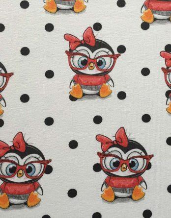 0,5m Sommersweat French Terry Kombistoff - Eule mit Brille und hübschen Punkten auf creme / fast weiß - creme rot orange blau - 165cm breit - Digital Ökotex