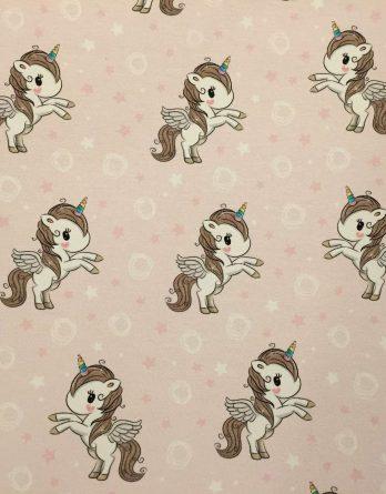 0,45m Sommersweat / French Terry - Einhorn Mädchen mit Flügerl, Herzen, Sterne und Kringel auf rosa - rosa pink weiß braun türkis - 165cm breit - Kombistoff - Digital - Ökotex