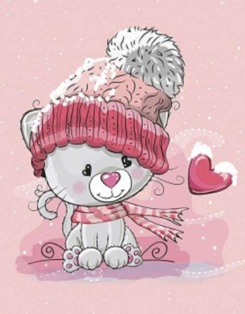 1 Sommersweat / French Terry Panel (40x50cm) – Katze / Kätzchen auf rosa – mit Mütze Schal Herz und Schneeflöckchen – rosa rot pink lila grau – Einzelmotiv Digital Ökotex