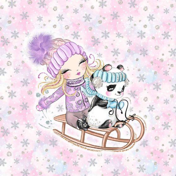 1 Sommersweat / French Terry Panel (40x50cm) – Happy Snow auf rosa – zuckersüßes Mädchen mit Pandabär auf Schlitten – 165cm breit – lila mint rosa – Digital – Einzelmotiv – Ökotex