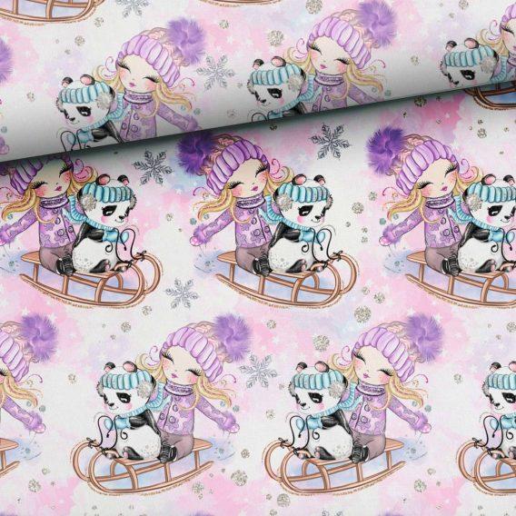 0,5m Sommersweat French Terry Kombistoff – Happy Snow auf rosa – Mädchen auf Schlitten mit Pandabär – 165cm breit – rosa lila braun mint – Digital – Ökotex