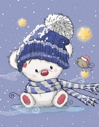 dMPLMWTM2c6Fddg2uQan 348x445 - 1 Sommersweat / French Terry Panel 40x50cm - Bärchen mit Mütze und Schal auf blau - Vogel Sterne Punkte Schal Schneeflocken - gelb dunkelblau rot - Einzelmotiv - Digital - Ökotex