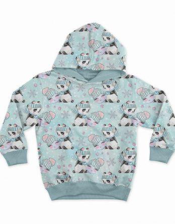 0,5m Sommersweat French Terry Kombistoff - Happy Snow auf mint - Pandabär mit Schneeball - 165cm breit - mint rosa lila - Digital - Ökotex