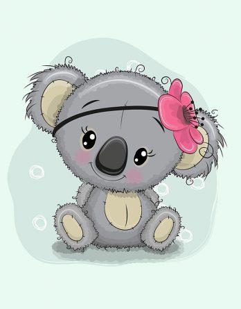 1 Sommersweat / French Terry Panel - medium, 40x50cm - Koalabär mit Blume als Masche und Kringel auf mint - grau pink rosa - Einzelmotiv - Ökotex